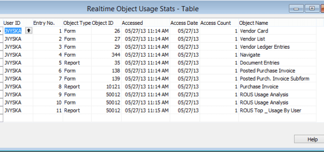 Realtime Object Usage Statistics is a Microsoft Dynamics NAV customization that enables tracking when users access Forms, Pages and/or Reports. This is accomplished by installing a small tracking code into...